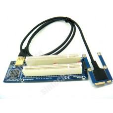Mini PCI-e to dual PCI riser Card With Cable