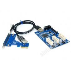 PCI-e express 3port 1X multiplier riser cable